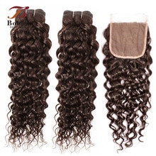Water Wave Color 2 Dark Brown 3/4 Bundles with 4x4 Lace Closure Remy Human Hair Weave Extension 10-24 inch BOBBI COLLECTION