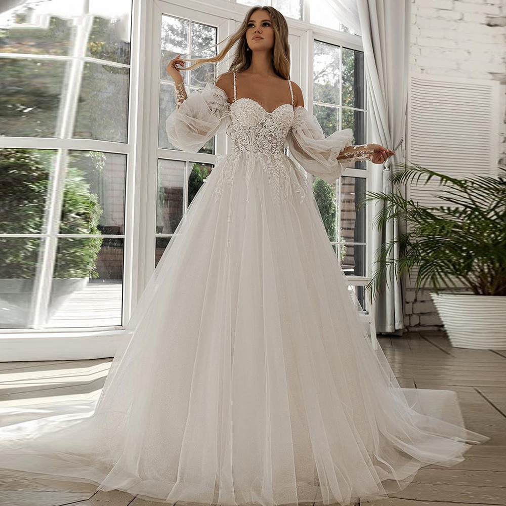 smileven summer beach wedding dress beaded princess satin bridal gowns off the shoulder boho wedding gowns custom made A-line Beach Wedding Dress Long Puff Sleeve Lace Bridal Gown Feathers Custom Made Princess Wedding Party Gowns Boho Plus Size