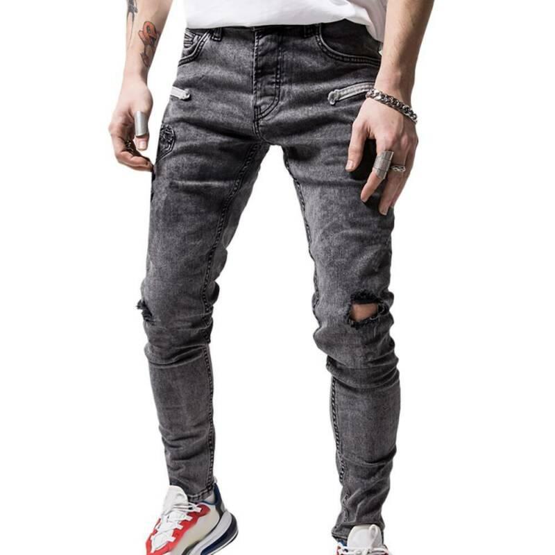 Мужские узкие джинсы, облегающие рваные Стрейчевые джинсовые брюки, базовые брюки