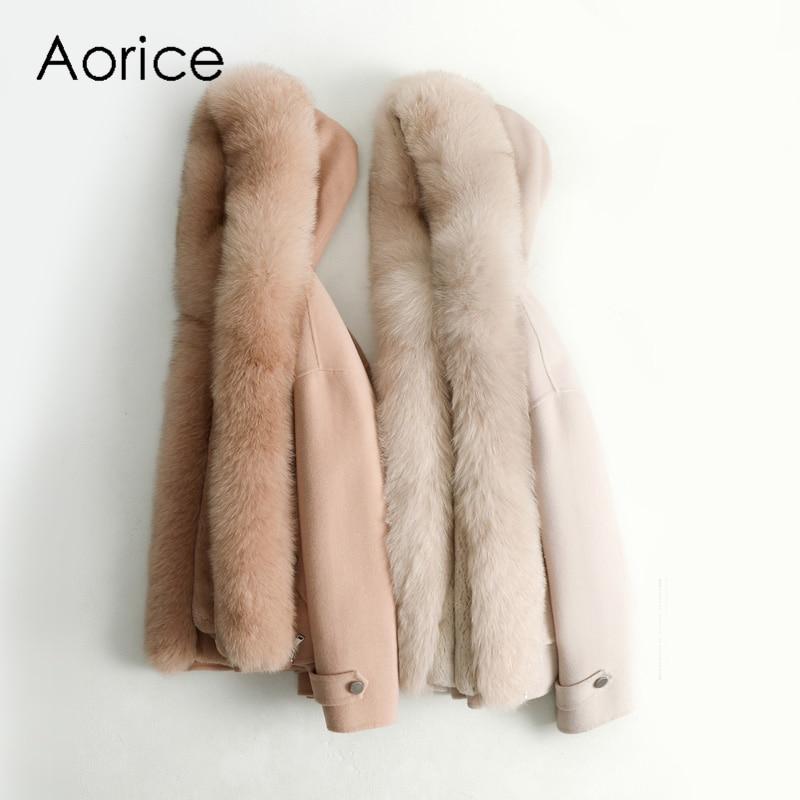 Aorice النساء خريف شتاء جديد الصوف الثعلب طوق سترة مع الأرنب الفراء داخل معطف بركة (سترة من الفراء بقبعة للقطب الشمالي) ZY126