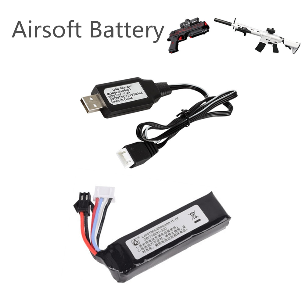11.1v 2000mah 451865 Lipo Battery + Charger for Electric Water Guns Battery RC Helicopter 3S Lithium Polymer Battery SM-2P Plug
