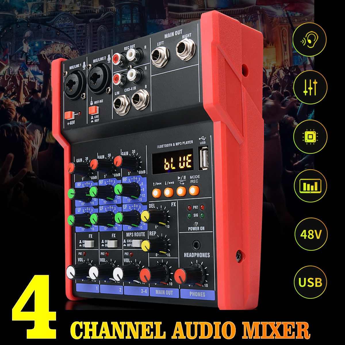 CLAITE 4 канала Портативный аудио караоке микшер/плееров, Bluetooth USB DJ микшерная консоль MP3 Джек 48V усилитель для KTV Вечерние