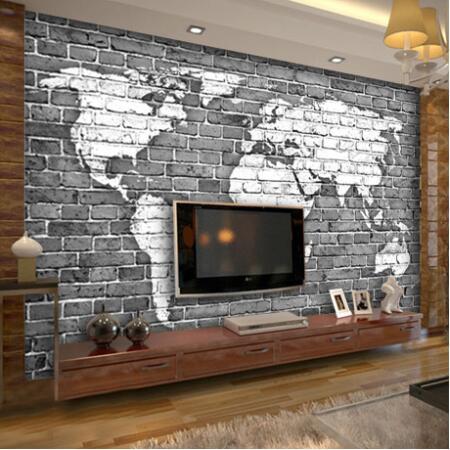 Large custom mural 3D wallpaper retro nostalgia personalized bar living room sofa background wall world map 3D wallpaper