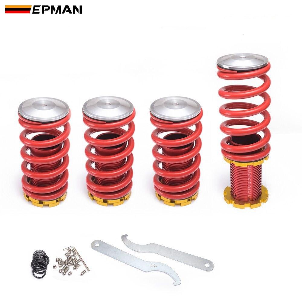 EPMAN, resorte de descenso plateado ajustable de alto rendimiento y bajo para Honda Civic 02-06 EP-SP0206