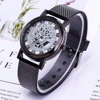 2019 Mens Watches Top Brand Men Luxury Stainless Steel Quartz Military Sport Plastic Band Dial Wrist Watch Relogio Masculino Q