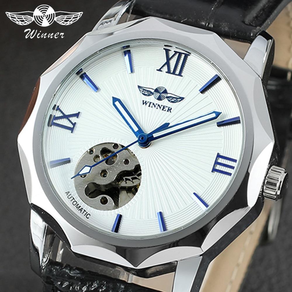 Winner 2020 marca superior de moda azul océano diseño geométrico mecanismo a la vista transparente Dial reloj de hombre de lujo automático mecánico Cloc