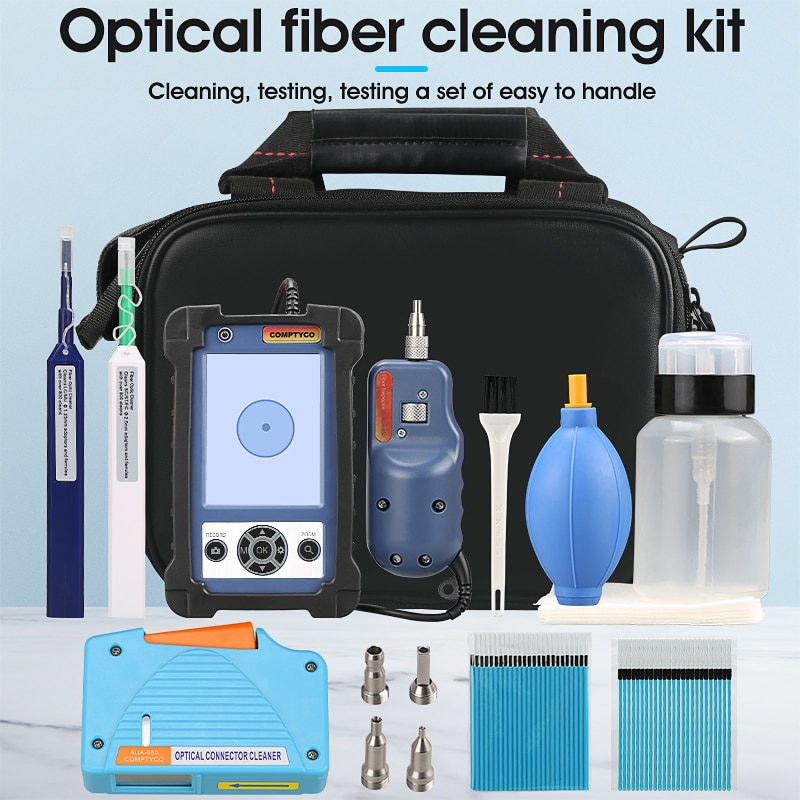 Fiber Cleaning Kit with Fiber Inspection Microscope and Optical Cleaner Box