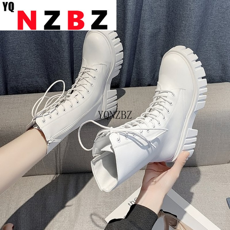 2021 New Mid Calf Boots Women Autumn Winter Fashion Lace-up Zipper Women Boots PU Leather Platform C