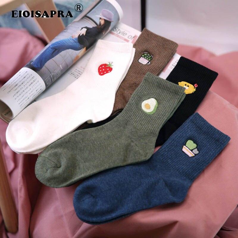 Otoño Invierno bordado mujeres calcetines estilo surcoreano pequeño fresco Casual Sox planta fruta diseñador equipo calcetín regalo para mujer