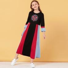 Müslüman kız Elbise İslam giyim Dubai ter çocuklar fas Abaya başörtüsü elbiseler A-line Elbise Vestido Kaftan sarı yay