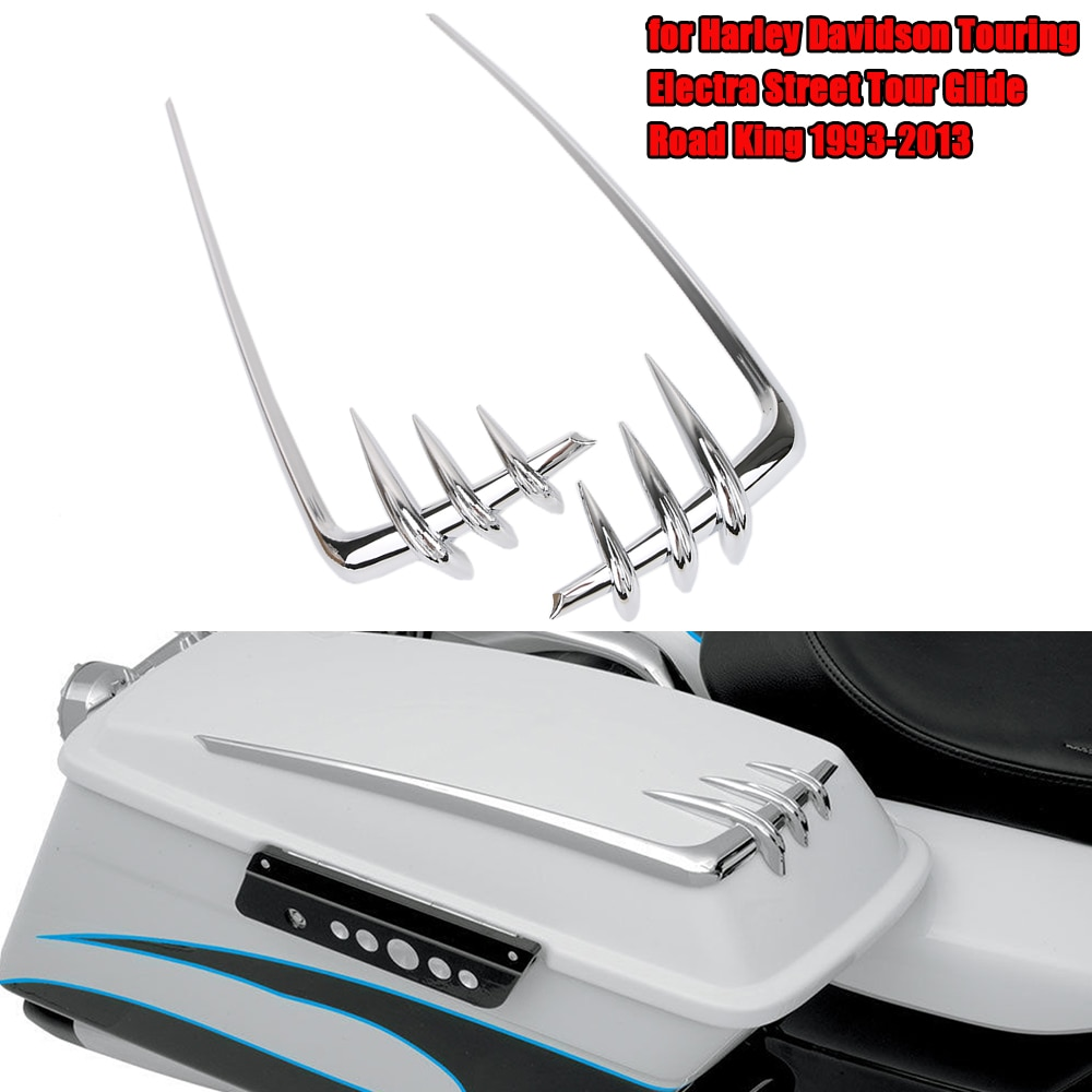 Motorcycle Saddlebag Lid Accents For Harley Davidson Touring Electra Street Tour Glide Road King 1993-2013 Chrome Tool Cover