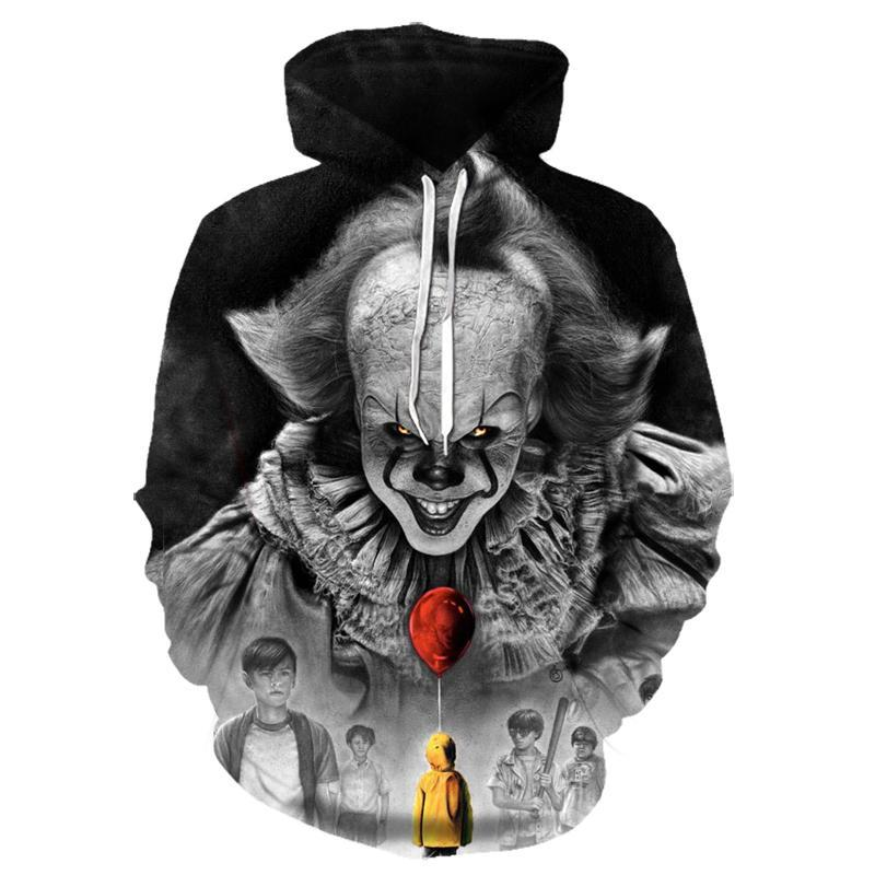 free shipping halloween children s clown costume masquerade performance clothing stage circus clown comedy costume boy cosplay Movie Stephen King ITThe Clown Pennywise 3D Printing Hoodies Cosplay Costume Men Women Cartoon Clown  Halloween Sweatshirt