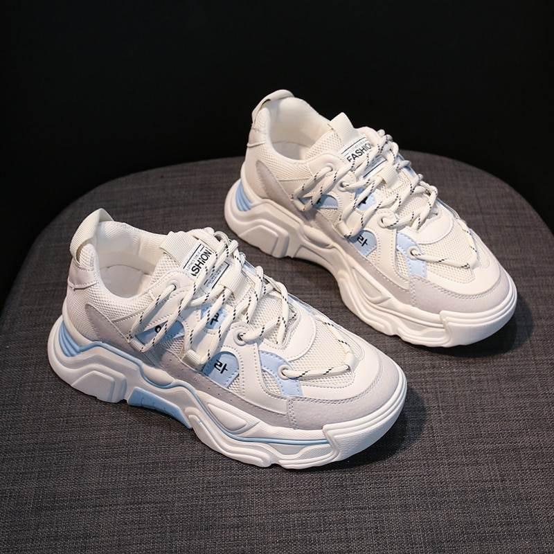 Zapatillas deportivas gruesas para Mujer, zapatos informales a la moda, con plataforma, novedad De 2021