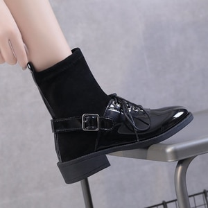 Women Boots Ladies Motorcycle Boots Casual Black Stretch Fabric Sock Platform Shoes Ankle Boots Female Non Slip Waterproof Boot