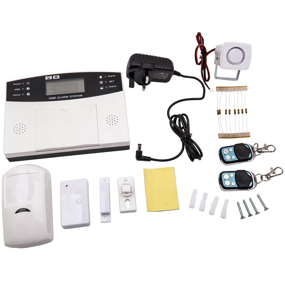 433 MHz جهاز إنذار GSM لاسلكي للتحكم المضيف ث/صفارات الإنذار PIR محس حركة + فوب عن بعد