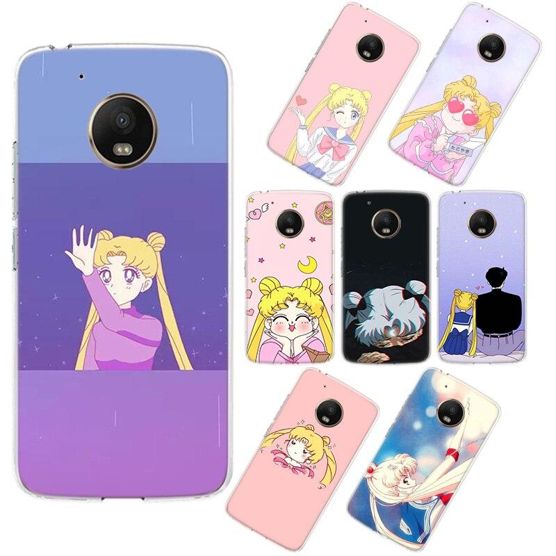 Pink Japanese Anime Kawaii Sailor Moon Phone Case For Motorola MOTO G7 Power G5 G5S G6 E4 E5 E6 Plus G4 Play Phone Cover Phone S