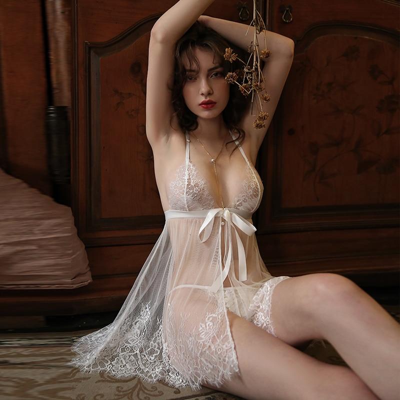 סקסי לילה שמלת מים מסיס תחרה הלבשה תחתונה כתונת לילה נסיעות חג יפה גזה כותונת נשים הלבשת שינה שמלה