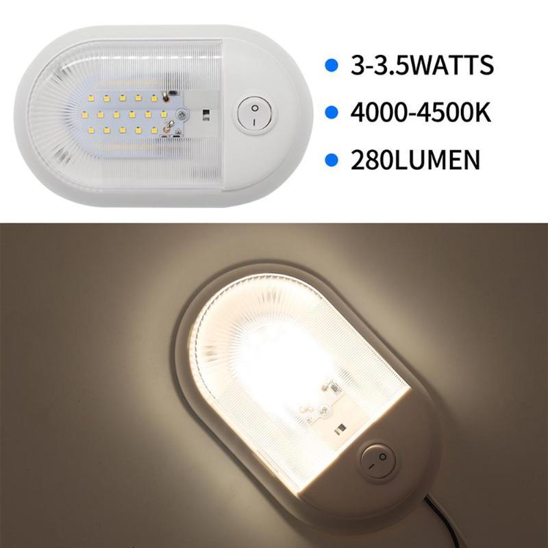 Luz de techo LED Interior de 12-24V 24 w/interruptor independiente para RV, barco marino, yate, ahorro de energía, lámpara LED de alto brillo