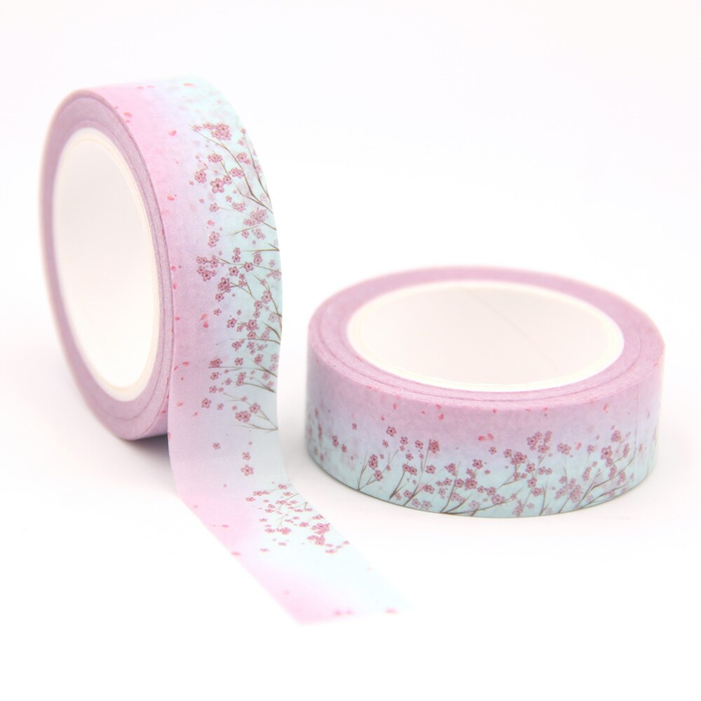 1PC/lot 15MM*10M Solar Term Spring Pink Red Flowers washi tape Masking Tapes Decorative Stickers DIY Stationery School Supply