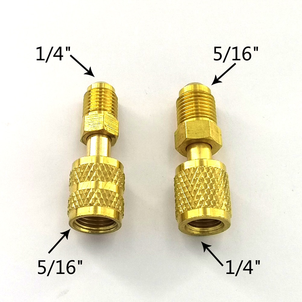 2pcs R410a Refrigeration Charging Adapter 5/16 SAE F Quick Couplers To 1/4 SAE M Flare 5/16 SAE M To 1/4 SAE For Air Conditioner