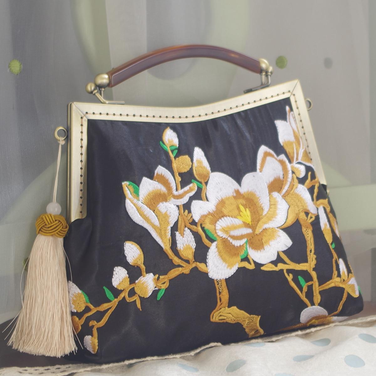 Bolso de mano con bordado Floral con imitación de ágata para mujer, estilo Retro chino, diseño tradicional, bandolera con flecos