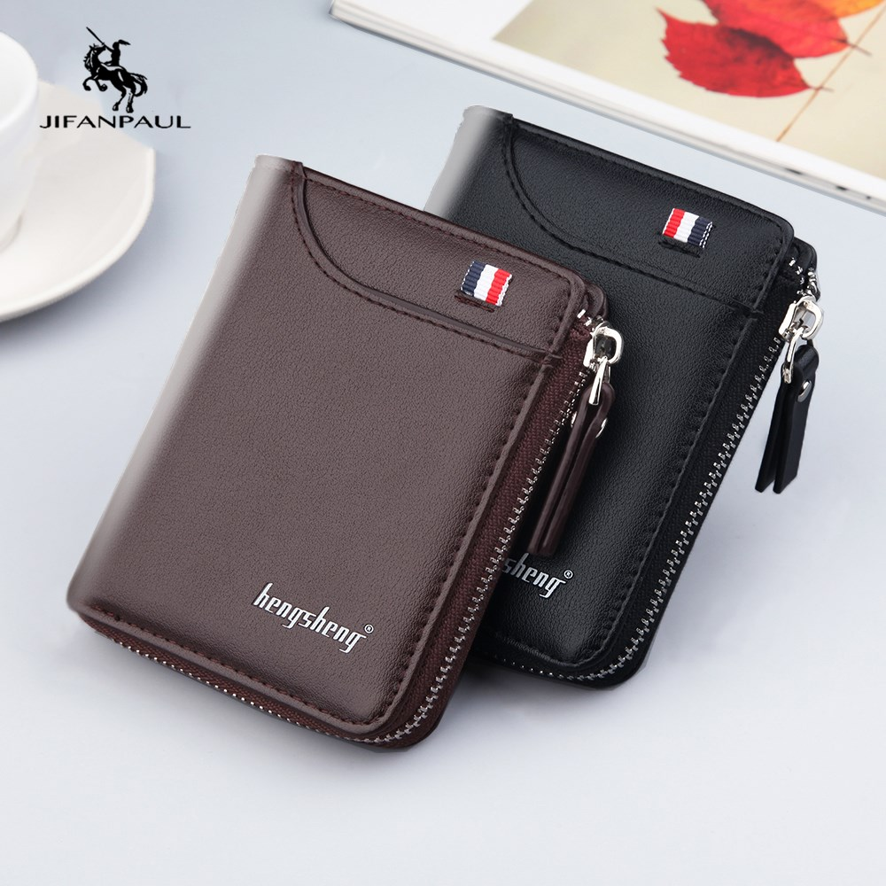 Кошельки JIFANPAUL мужские короткие из натуральной кожи, модные бумажники для мелочи, кредитница в стиле ретро, деловые бумажники, бесплатная до...