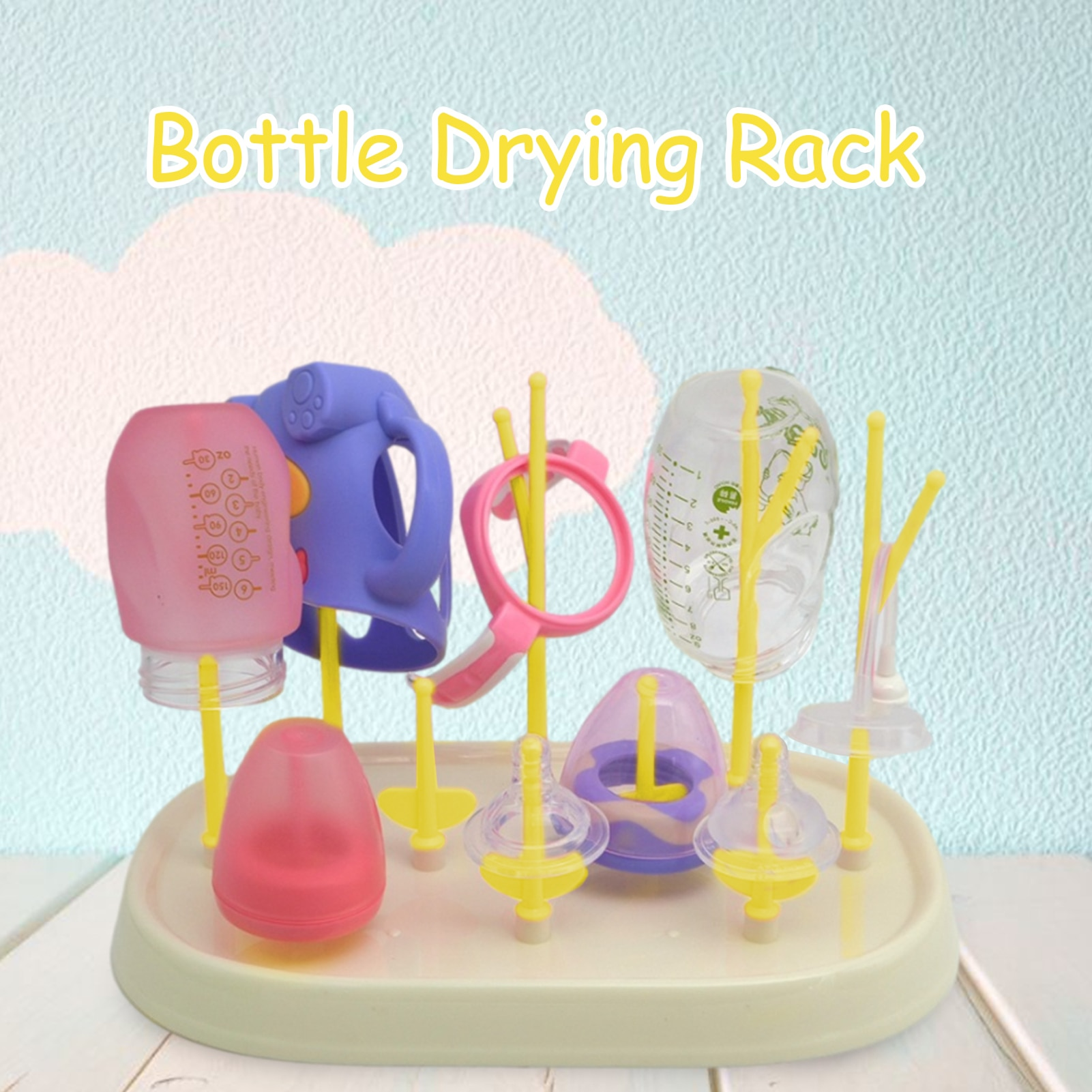 Plastic Baby Bottle Drying Rack Baby Bottle Cleaning Dryer Drainer Storage Rack Tree Shape Rack For Babies Bottles Removable