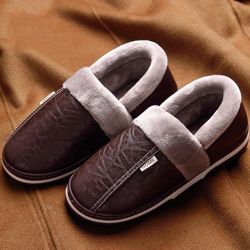Zapatillas de casa para hombre a la moda para coser zapatillas de invierno de talla grande 10,5-15 zapatos de dormitorio de espuma viscoelástica suaves antideslizantes para hombre