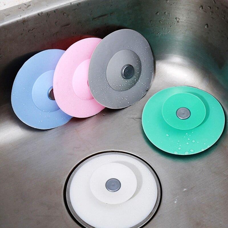 Tapón del fregadero de cocina para baño, tapón de goma para desagüe de suelo, trampa para el pelo para ducha, tapón de bañera de presión de silicona, accesorios de cocina