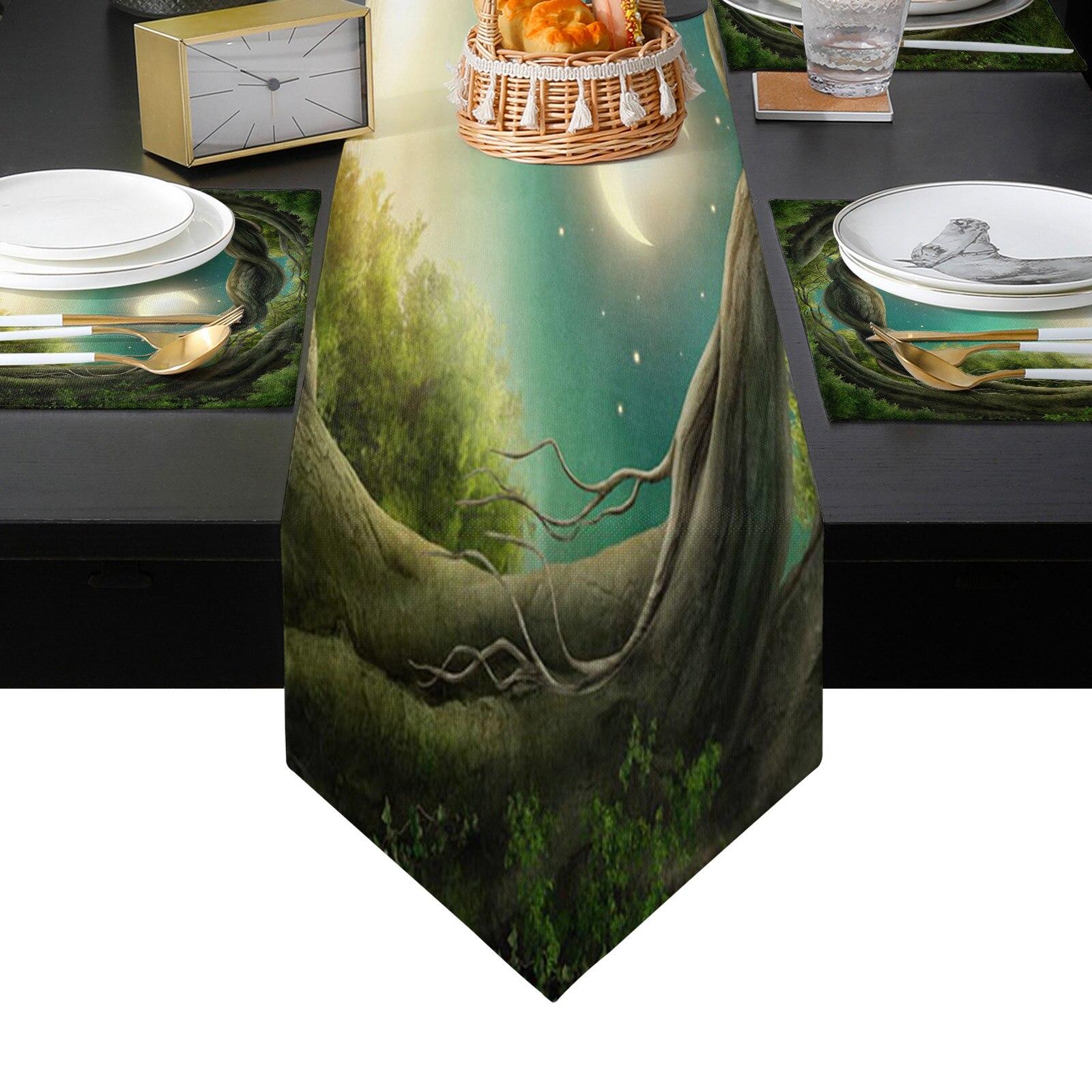 الغابة أربور وودز القمر الأخضر الجدول عداء المفارش مجموعة للمنزل المطبخ طاولة طعام حفل زفاف عطلة عشاء الديكور
