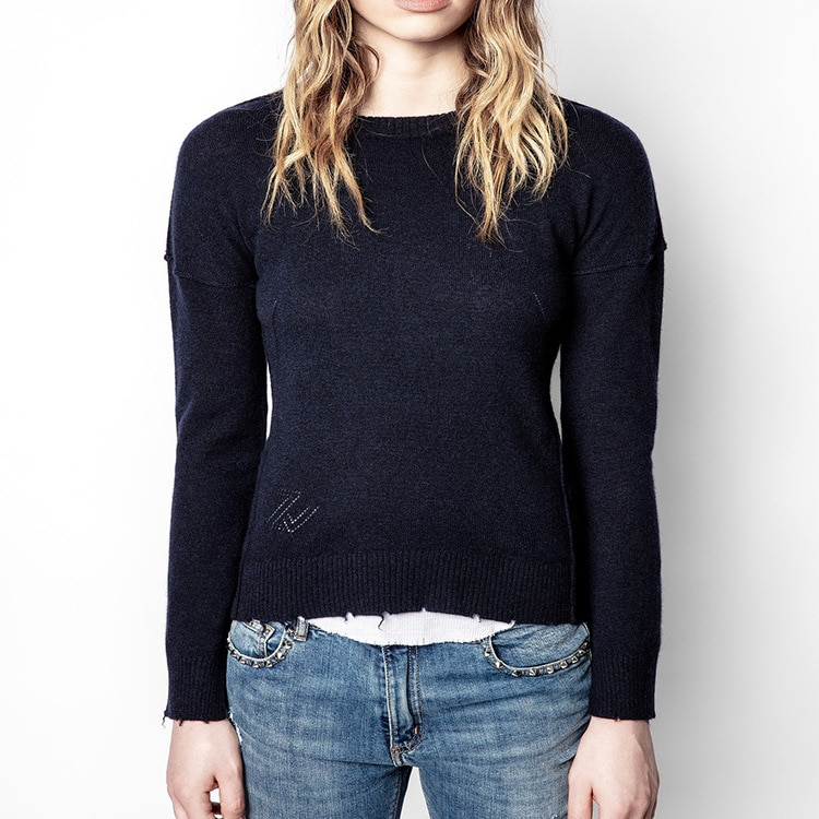Early Autumn 2021 New Women's Wear Cashmere Round Collar Long Sleeves Sewn Leather Star Sweater enlarge
