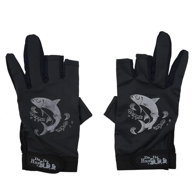 SODIAL(R) 2 uds guantes de pesca antideslizantes de dos dedos de Palma de goma negros