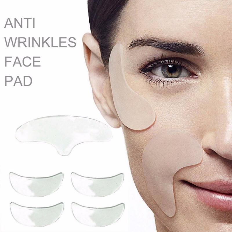 5 unids/set de almohadillas antiarrugas para los ojos, almohadillas de silicona reutilizables para levantar la cara, parche Invisible de piel lisa, herramienta para el cuidado de la piel