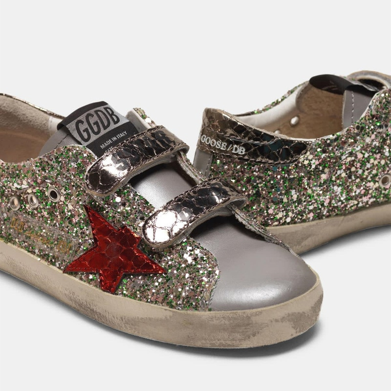 2021 Parent-child Shoes Spring and Summer New Sequined Stars Children's Retro Old Small Dirty  Boys and Girls Casual Shoes QZ10 enlarge