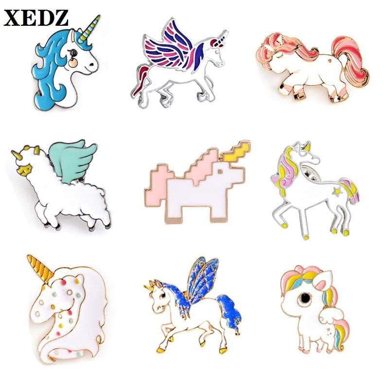 Xedz cor asas unicórnio bonito anjo cavalo elk ovelhas estrelas manchas mosaico corrida animal crachá punk lapela pino crianças jóias presente