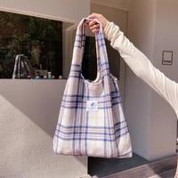 2021 new shopper bags womens shoulder bag japanese style plaid tote bag cute girls handbag casual schoolbag female canvas bag