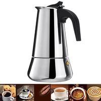 Stove Moka Coffee Pot Stainless Steel Coffee Maker Moka Espresso Percolator Stovetop Coffee Maker Pot 100/200/300/450 ML