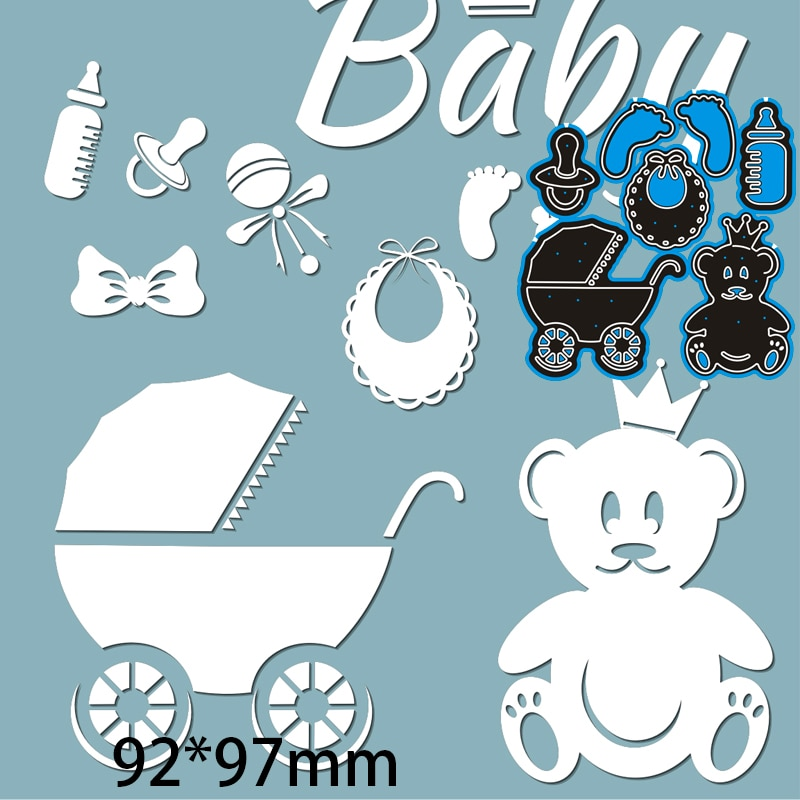 Cutting Dies  Baby Carriage Teddy Bear Beeding Bottle DIY Scrap Booking Photo Album Embossing Paper Cards 92*97mm