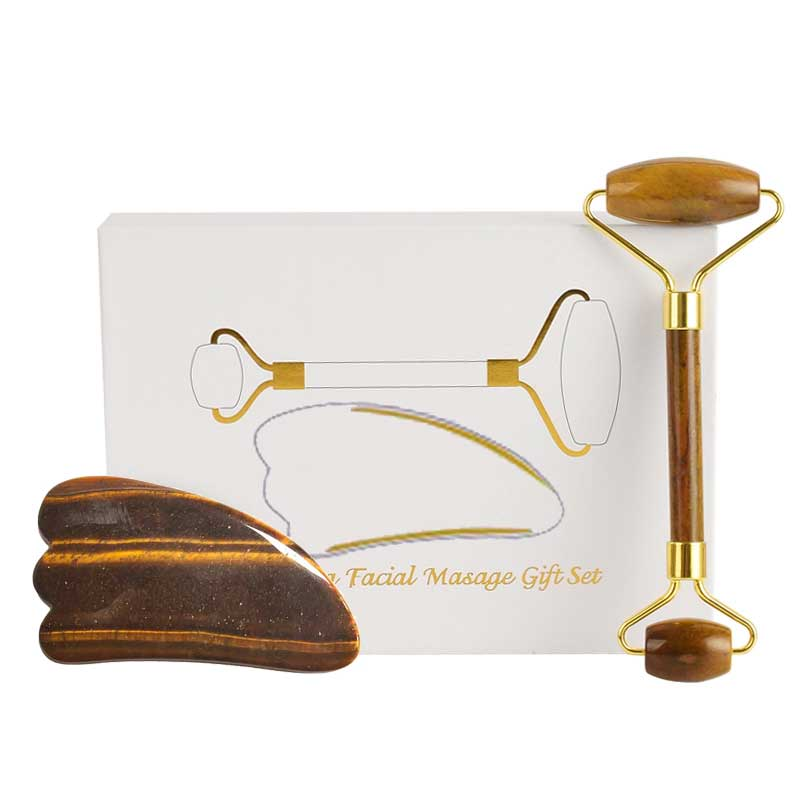 Tiger Eye Jade Roller Natural Stone Guasha Board Anti Puffiness Facial Massager Scraper Jade Face Roller Massage Set With Box