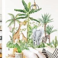 green rainforest wall stickers for living room bedroom elephant giraffe animals wall decals for kids rooms home decoration mural