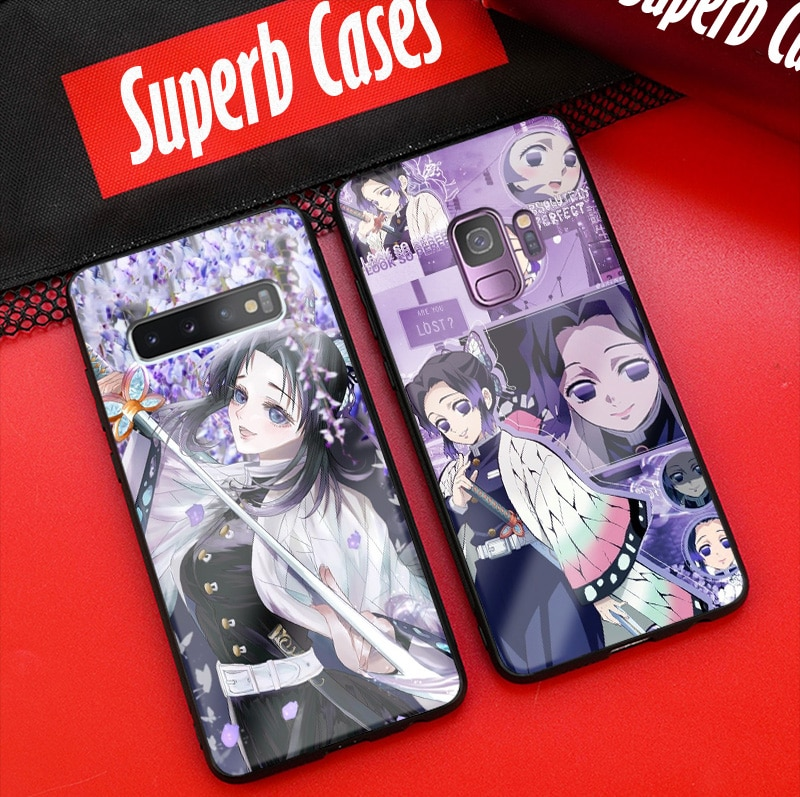 Shinobu kocho kimetsu não yaiba silicone macio vidro caso do telefone capa escudo para samsung galaxy s8 s9 s10e s10 nota 8 9 10 plus