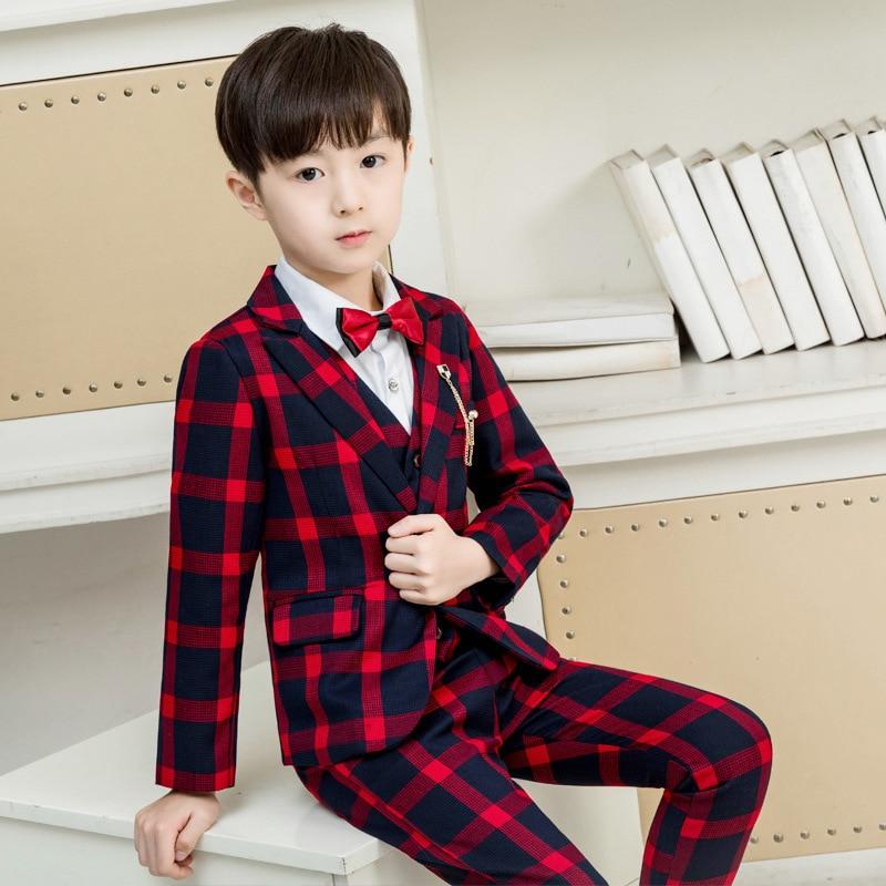 طقم بدلات رسمية للأطفال ، زي زفاف مربعات ، سترة ، بنطلون ، ربطة عنق ، أطقم ملابس