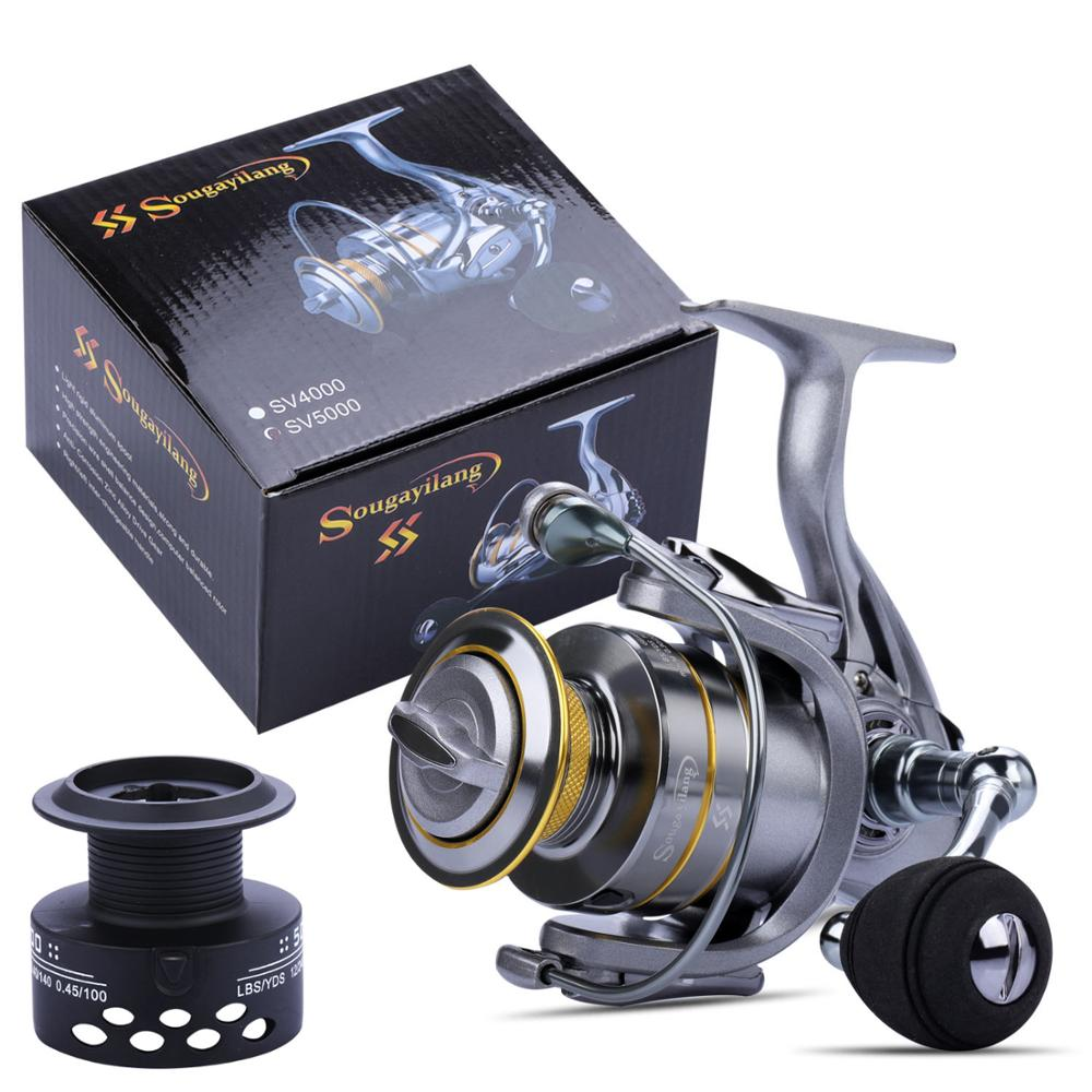 Sougayilang All Metal Spool Spinning Reel 13+1BB Double Spool Fishing Reel 8KG Max Drag 5.1:1 5.5:1 Gear Ratio Carp Fishing Reel tsurinoya flying shark 6 2 1 high speed fishing reel 4000 5000 spinning reel 11 1bb 12kg drag aluminum spool carp fishing tackle
