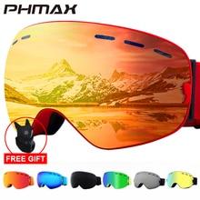 PHMAX 2020 kayak gözlüğü kayak maskesi erkekler kadınlar Snowboard gözlüğü gözlük kayak UV400 koruma, anti-sis kar kayak gözlük