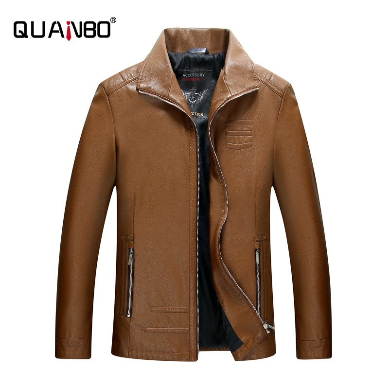 QUANBO Men's Turn Dwn Collar Leather Motorcycle Lightweight Faux Leather Outwear Fashion Casual Coat
