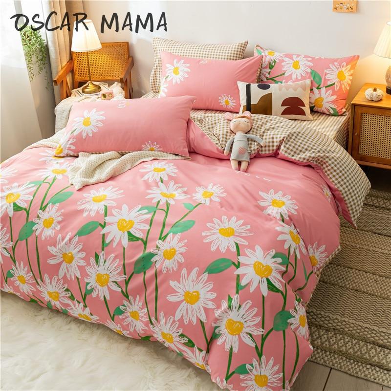 مكرامية بوهو زهرة عباد الشمس ليتل ديزي لطيف فتاة الطفل الاطفال جميل الوردي طقم سرير كامل أغطية سرير مزدوج 2 ديكور غرفة نوم