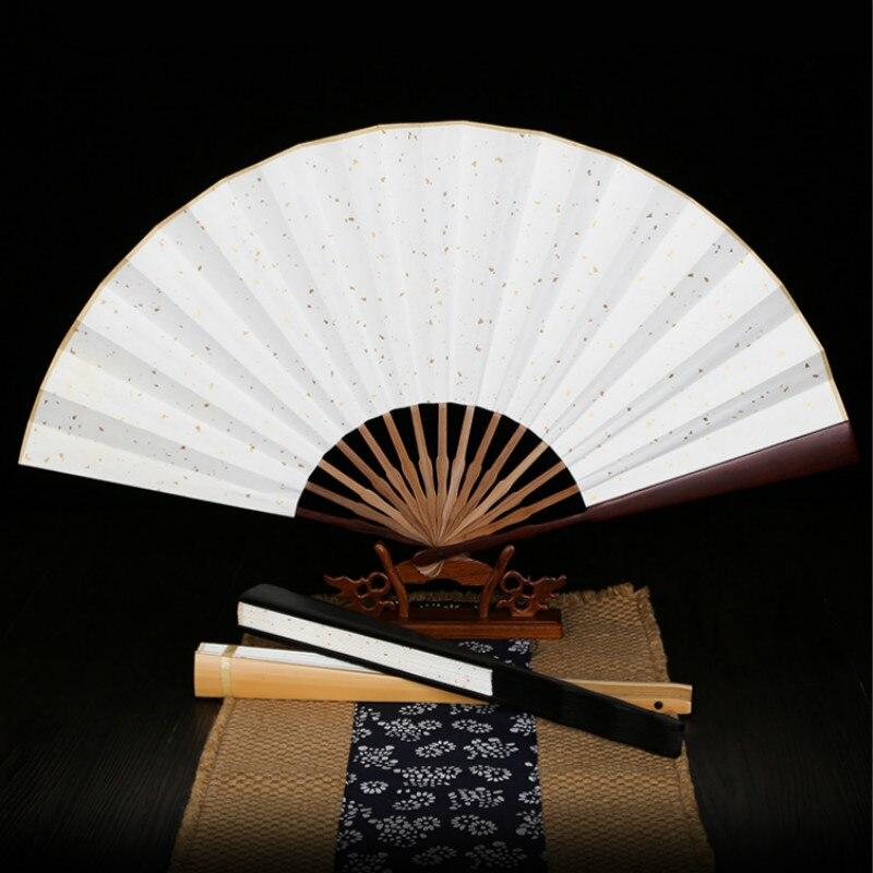 Xuan-ventilador de papel clásico en blanco, ventilador plegable de bambú Para creación...