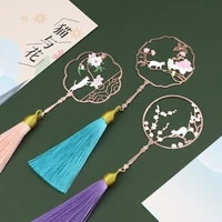 1 Pc Vintage Chinese Style Fan Shape Flower Cat Tassels Metal Bookmarks Book Marker Page Holder Gift Stationery