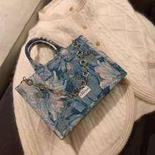 Monet Blues Tote Bag Artistic Printed Women Flower Chain Decoraction 2021 Square Canvas Big Capacity