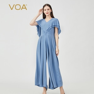VOA Silk 30m/m Silk Heavyweight Bamboo LOOSE Moon Blue V-Neck Ruffled Back Zipper Fold Stitching Wide-Leg Jumpsuit Women KE569